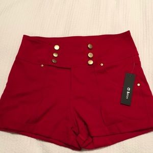 High waisted red shorts NWT